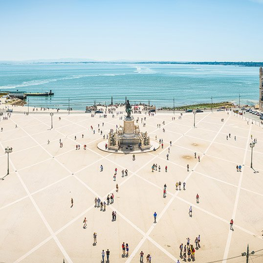 The squares of Lisbon: view over Commerce Square